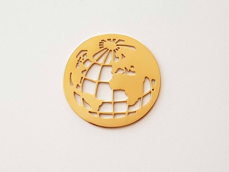 Edelstahl Coin Weltkugel f\u00fcr Coinsfassung Wechselschmuck Anh\u00e4nger silber rosegold gold oder geschw\u00e4rzt
