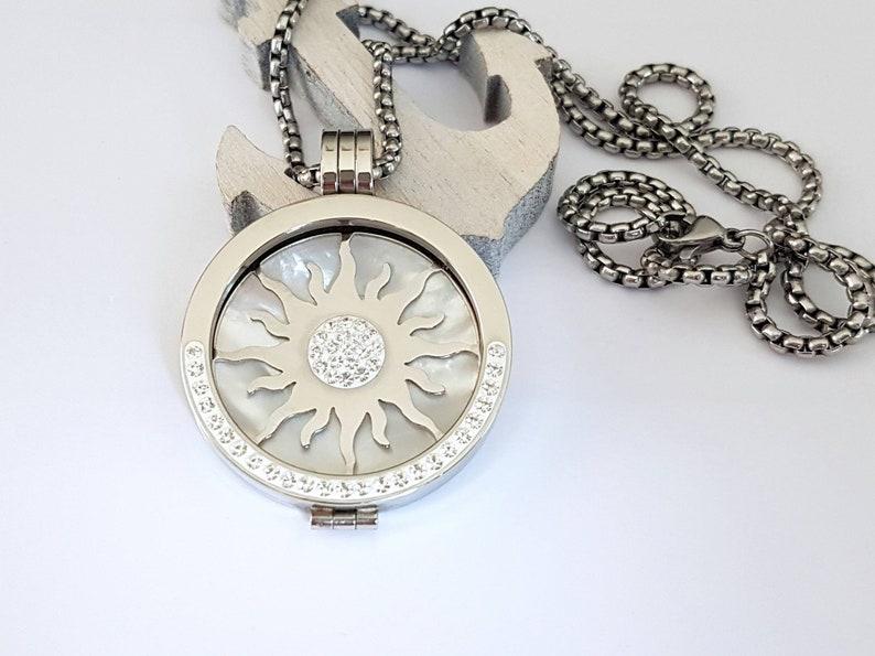 4-teilig Wechselschmuck Anh\u00e4nger Coins 30mm Halskette Sonne Edelstahl Zirkonia Perlmutt