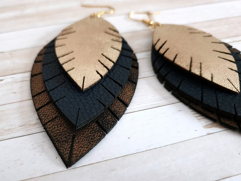 boho bohemian earrings hanging earrings Statement earrings large stainless steel leaves imitation leather