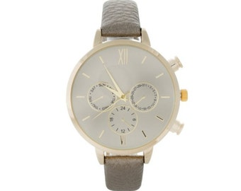 Pewter faux leather watch with skinny band
