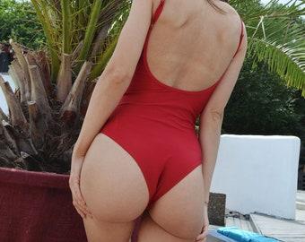 One piece swimsuit Dark red swimsuit Open back swimsuit High leg swimsuit Womens swimwear Thong bikini Bathing suit Vintage swimsuit