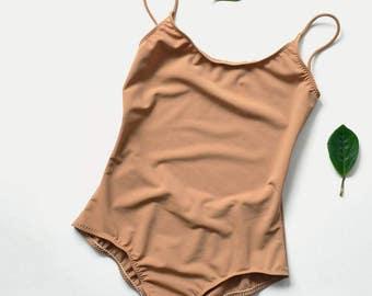 Open back one piece swimsuit / Beige swimsuit / flesh color  / Womens swimwear