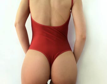 318c00489aec4 One piece swimsuit Dark red swimsuit Open back swimsuit High leg swimsuit  Womens swimwear Thong bikini Bathing suit Vintage swimsuit