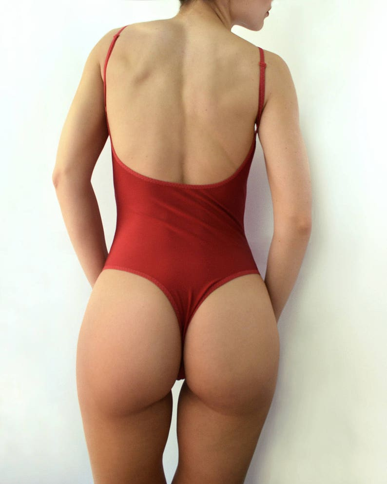 a32c3c0988b One piece swimsuit Dark red swimsuit Open back swimsuit High