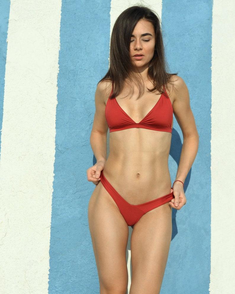 d07330f837 Seamless swimsuit Hot dark red swimsuit Brazilian Bikini Two | Etsy