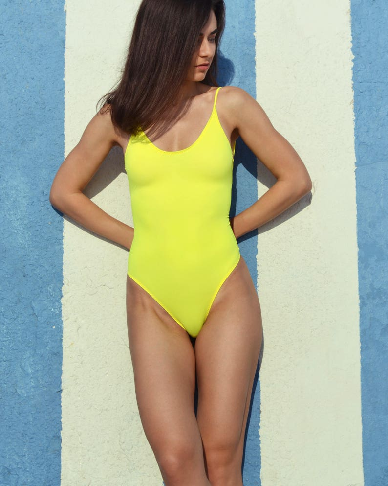 0d2f5e607e One piece swimsuit Yellow Vintage swimsuit High cut swimsuit | Etsy
