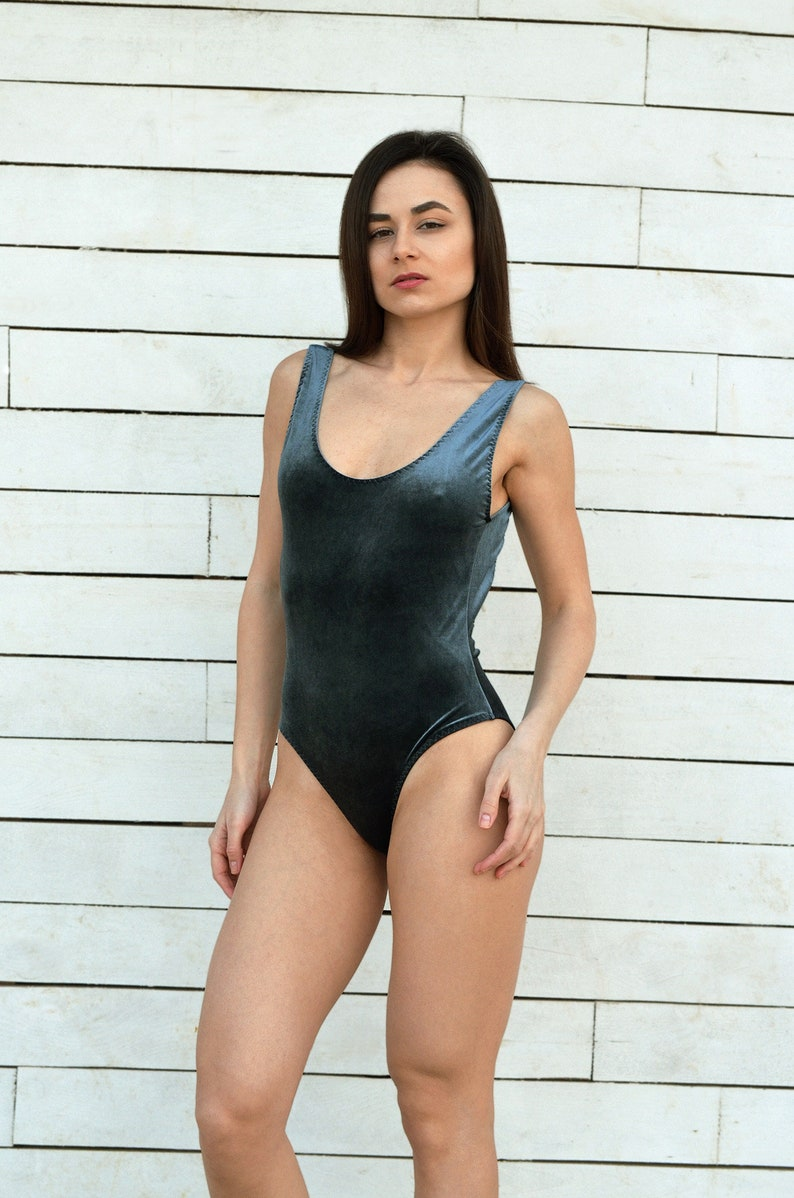 4b17e10e93 Dark gray swimsuit Moonlight velvet swimsuit Open back One