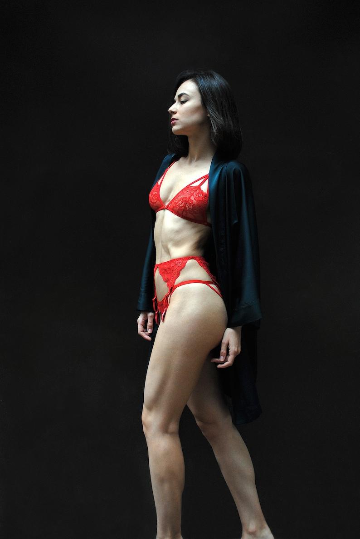Red lingerie set Lace bralette Garter belt Strappy lingerie Harness bra Erotic lingerie Suspender Belt Valentines Day Gift for girlfriend