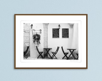 Fine art photography giclee print, French Corsica cafe art prints, Stylish home decor art, French cafe scene prints, gift ideas for home