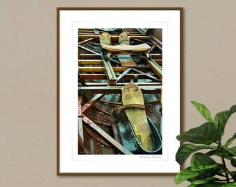 Fine Art Photography, Vintage Rowing Boat Art Print, Dark Academia, Ideal Gift Idea for Rowers, Inspirational Art, Framed Unframed