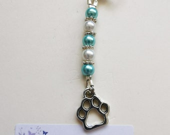 purse charm Unique! Dog paw print paws Beaded Zipper pull keychain bling bookbag backpack tassel accessory