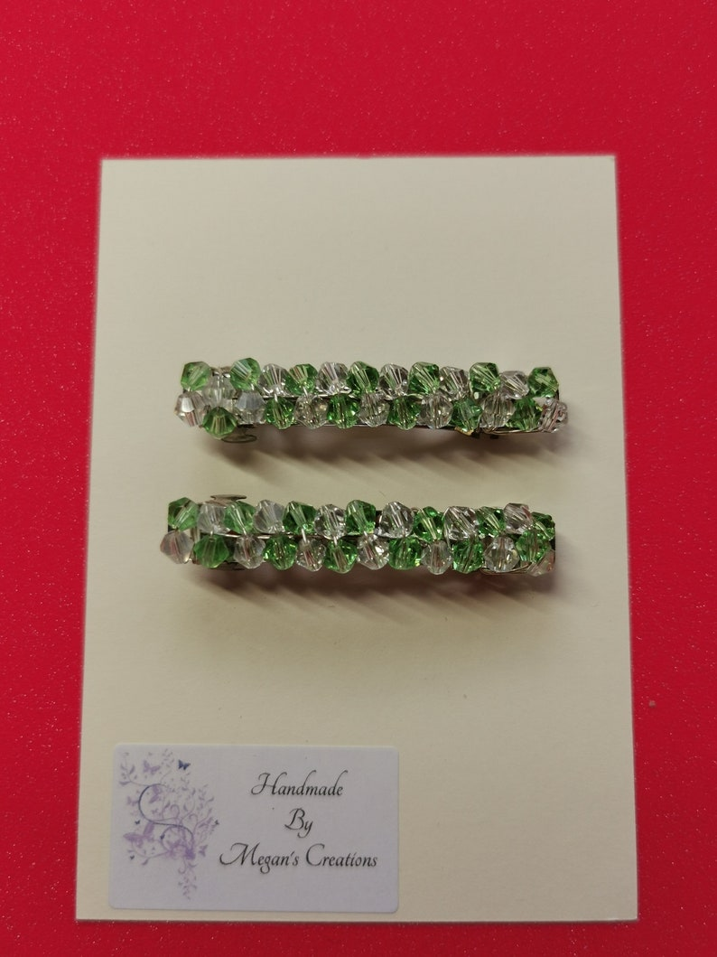pale green and clear beaded hair accessory pale green /& clear beaded  hair barrette Pale green and clear coloured glass beaded hair clips