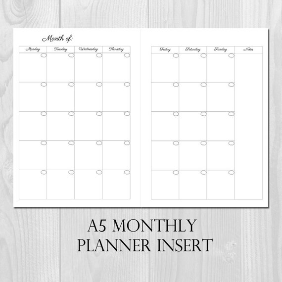 Monthly Planner Printable Insert A5 Size Undated Month On