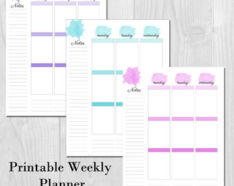 Weekly Planner Printable Erin Condren Style Undated - Week on 2 Pages