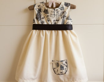 SALE 25% OFF!! 12-18 months Only! Handmade Baby Girl Summer Party Occasion Cream Dress with Black Vintage Lady Print and Sash