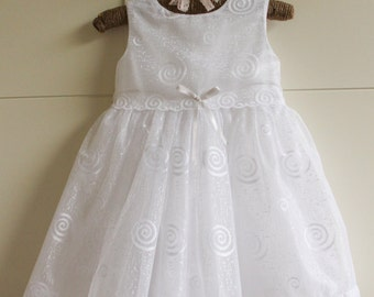 SALE 25% OFF!! 12-18 Months Only! White Fully Lined Baby Girls Dress White Ribbon Bow to Waist Flower Girl Christening
