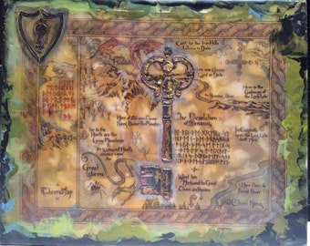 Map of Thror - Lord of the Rings - Encaustic Art