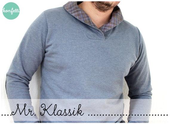 Mr. Klassik Herren Pullover Gr. XS-4XL Hoodie Schnittmuster | Etsy