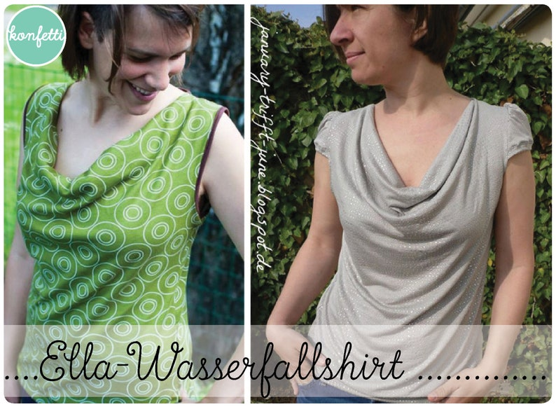 Ella-Waterfall shirt Women's size 34-48 Cut pattern ebook image 0