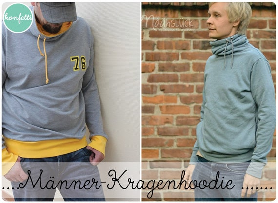 Männer Kragenhoodie XS-4XL Hoodie Schnittmuster / ebook | Etsy