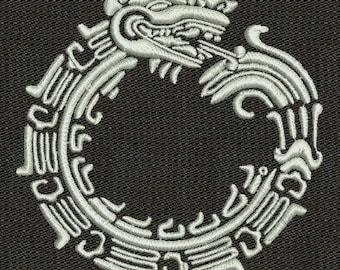 Ethnic Aztecs Uroboros machine embroidery design