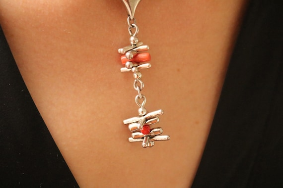 OP ORLANDINI Vintage 1970s Italian Solid Sterling SIlver and Pink Coral Modernist Bracelet New Old Stock