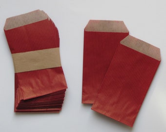 Set of 25 /sachets red 7x12cm laid kraft bag made in France