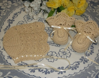 Handmade, Hand Crocheted Baby Bonnet/Booties set for newborn baby or doll. Ecru or off white w/ecru or off white ribbons