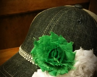 Green and White Trucker hat Shabby chic headwear Mean Green University of North Texas