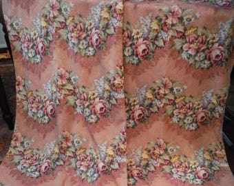 Pink Cabbage Roses/ Floral 1940's Bark Cloth Drapery Panel's/ Fabric