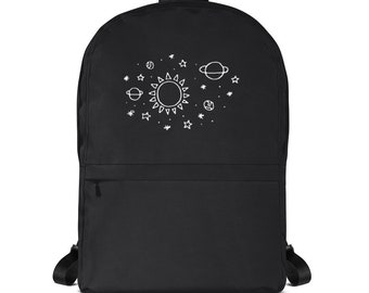 840f52b67d08 Planets Hand Drawn Backpack Tumblr Hipster Grunge Aesthetic Rad Pastel  Kawaii Trippy Accessories Streetwear Bag Universe Galaxy Solar System