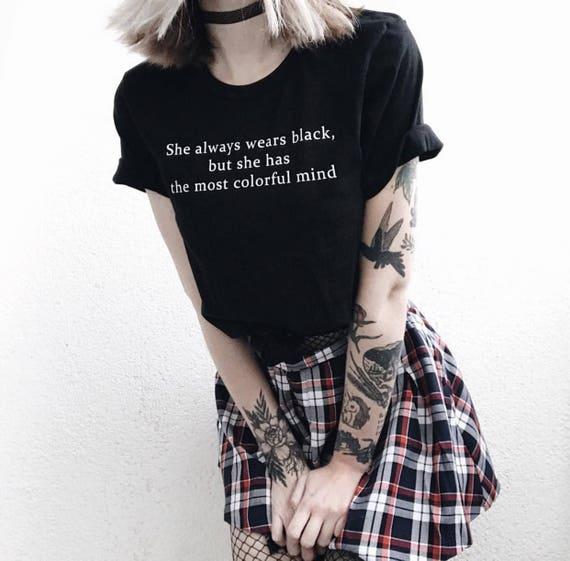 She Wears Black T Shirt Tumblr Hipster Grunge Aesthetic Etsy