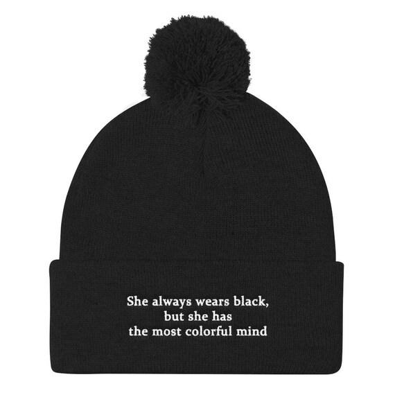She Wears Black Pom Pom Beanie Tumblr Hipster Grunge Aesthetic Etsy