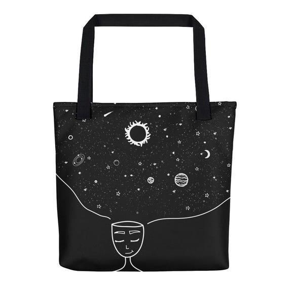Galaxy in her Mind Tote Bag Tumblr Hipster Grunge Aesthetic Stars Sun Moon Streetwear Urban Trippy Universe Rad Mindset Beautiful Mind