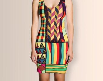 African Style No18, Dress, African Dress, Ankara Dress, Summer Dress, Women Dress, Short Dress, Clothing, Party Dress, Geometric Dress