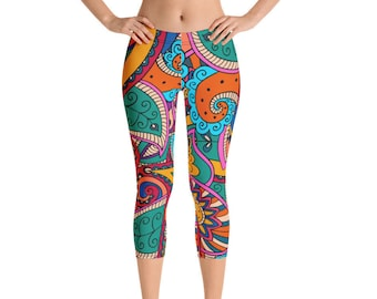 0a5a17ad10 African Capri Womens Leggings, Tribal Ethnic Colorful Geometric Capri Yoga  Pants