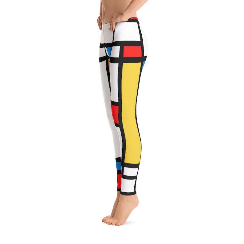 Mondrian Geometric Yoga Leggings Abstract Colorful Pattern Womens Leggings