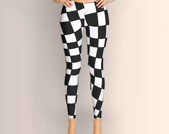 Black and White Distortion, Leggings, Geometric Black and White Women Leggings, Yoga Leggings, Yoga Pants, Clothing, Pants