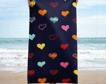 Colorful Hearts,  Beach Towel
