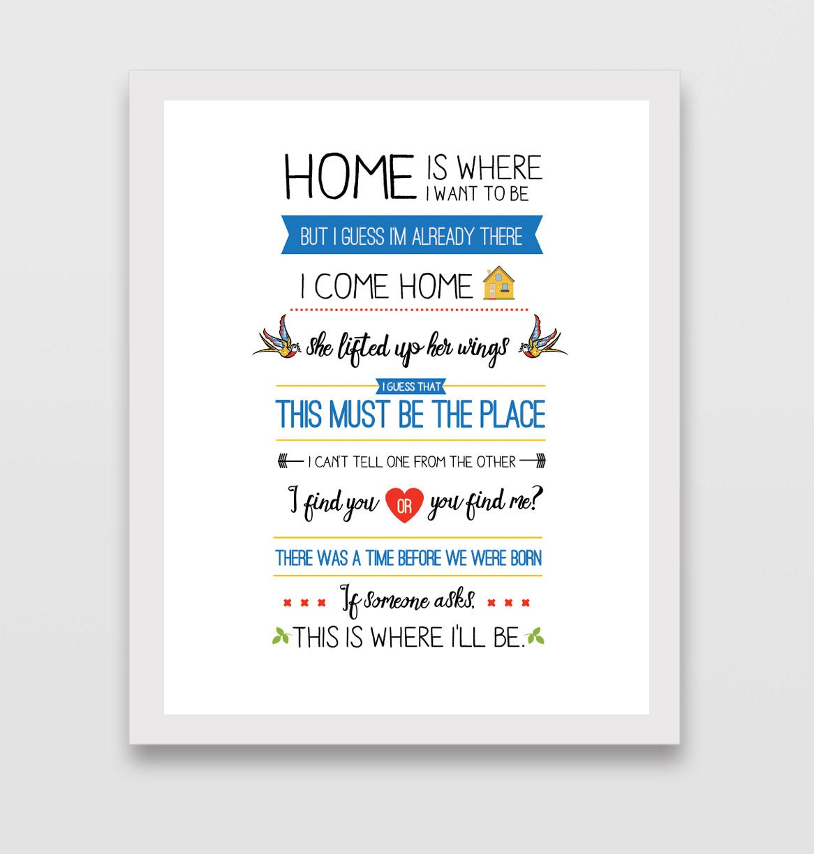 Talking Heads This Must Be the Place Lyric Print   Etsy