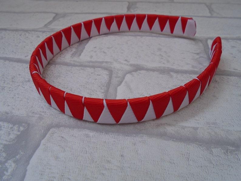 UK handmade girls school Hairband Alice Band Headband gingham red uniform
