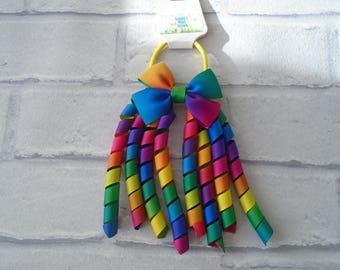 Rainbow ribbon korker bobble, spiral ribbon hair tie, hair band hair bobble, handmade, bow ribbon rainbow colourful made to order elastic