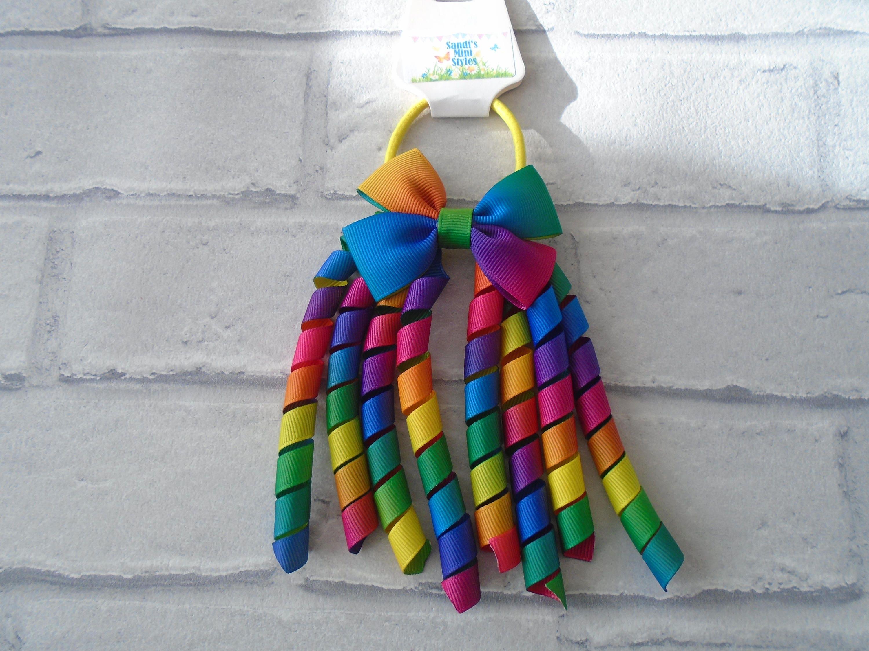 Rainbow ribbon korker bobble spiral ribbon hair tie hair  d646a879b67