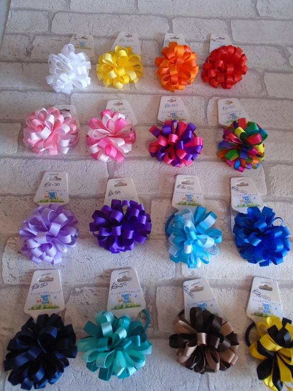 Loopy Puff Flower Bow Loopy Puff Clip Ribbon Flower Clip Etsy