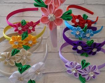 flower girl bridesmaid hair accessory made 2 match wedding colour handmade satin flower band Kanzashi headband special occasion satin flower