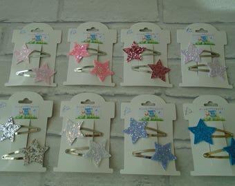Star hair clips glitter stars glitter hair slides star hair slides girls clips toddler party bag birthday present christmas gift glittery