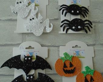 Pair Halloween hair clips spider bat pumpkin ghost spooky trick or treat halloween outfit hair accessory spider ghost bat pumpkin clips