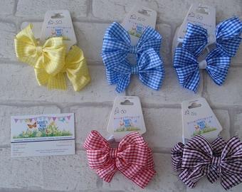 Gingham pinwheel bow bobbles hair elastics hair ties school colours uniform summer school hair bows check ribbon hair bows simple bows