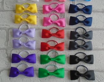 plain hair bow bobbles hair elastics hair ties school colours uniform handmade hair bows white pink blue green yellow black purple red bows