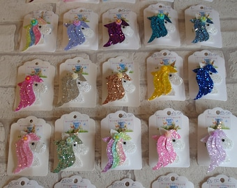 Unicorn hair clips fringe clips unicorn hair accessory custom girls present gift hair rainbow clip birthday gift party favour made to match